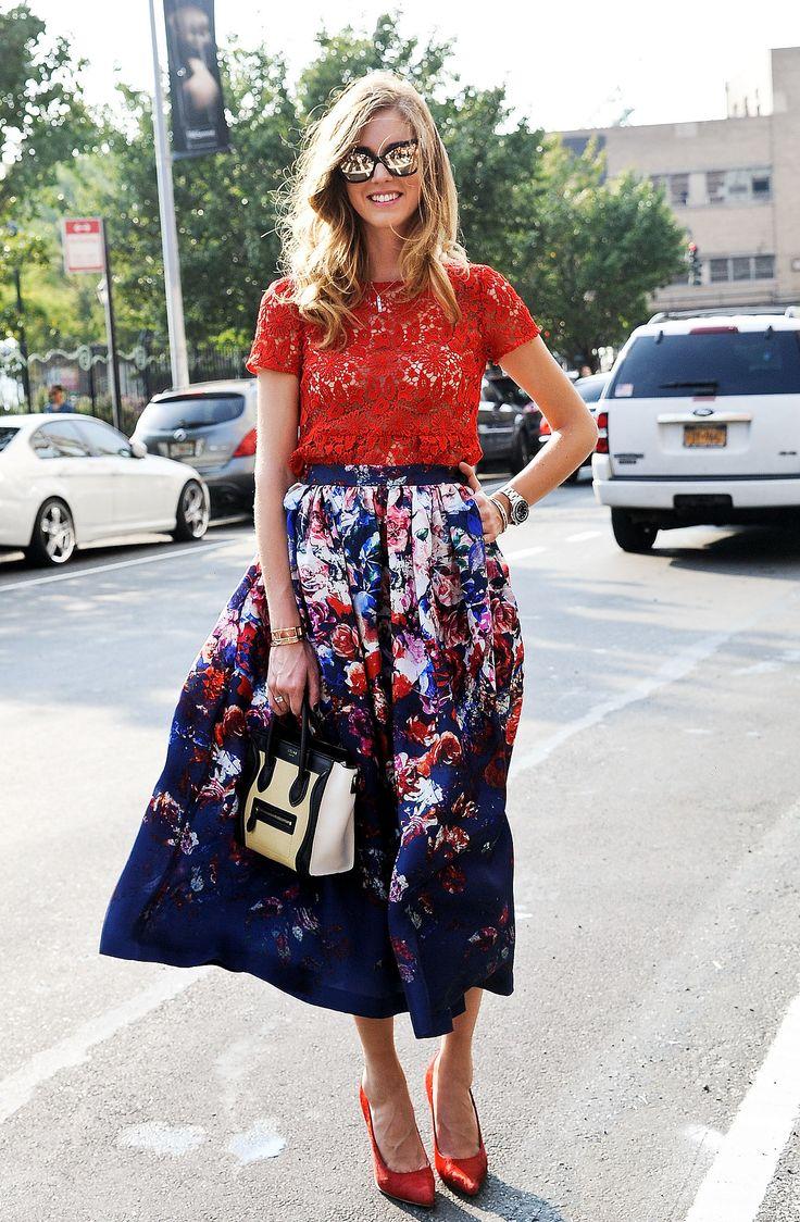 Chiara Ferragni's bright florals make us smile. #streetstyle