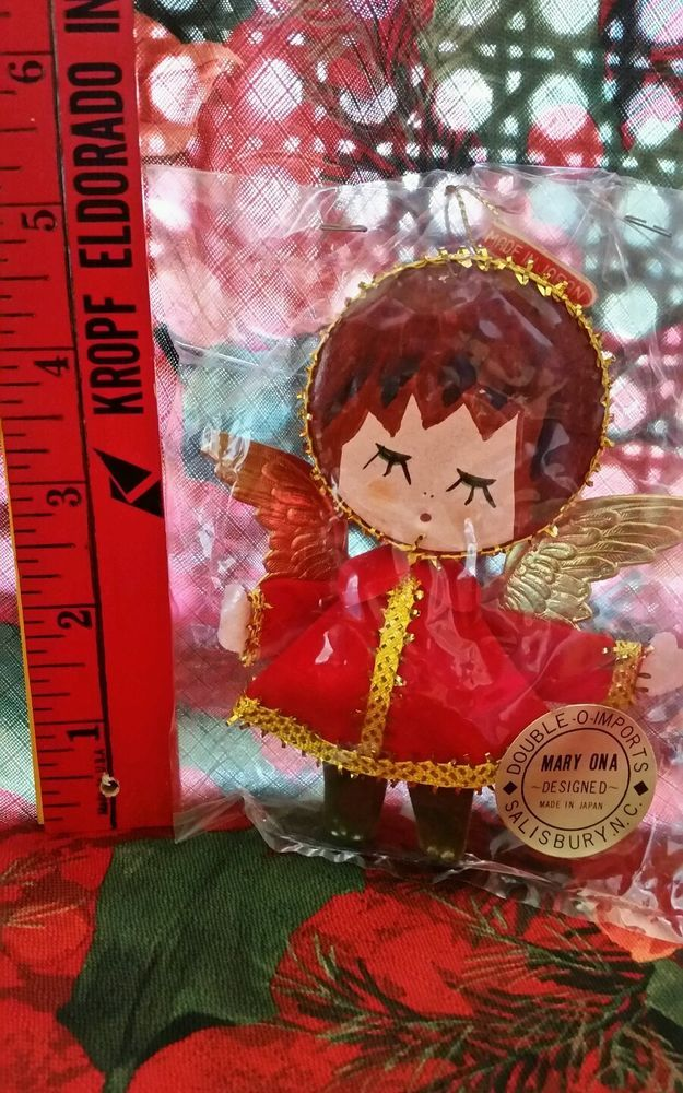 """Vintage Mid Century Angel Christmas Ornament New Package """"Old Store Stock"""" MOD!  