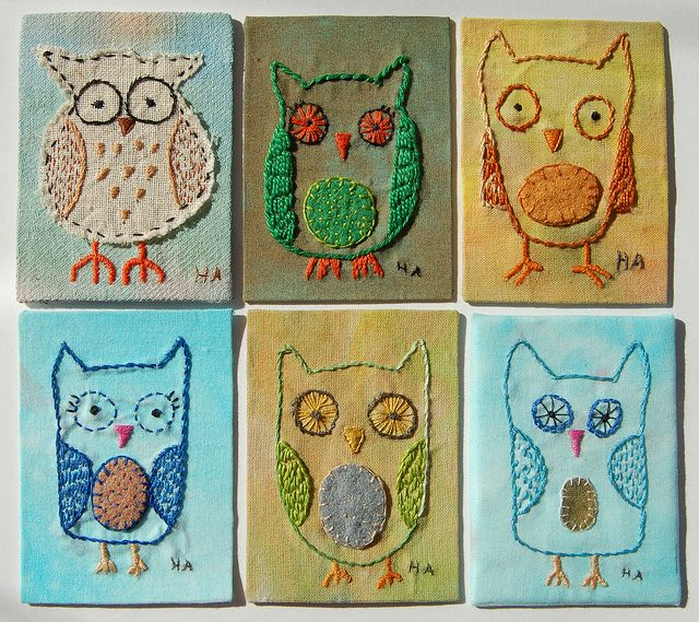 Artist Trading Cards- ideasFabrics Artists, Crochet Crafts, Owls Art, Embroidered Owls, Cards Tutorials, Artists Trade Cards, Stitches, Hoot, Embroidery