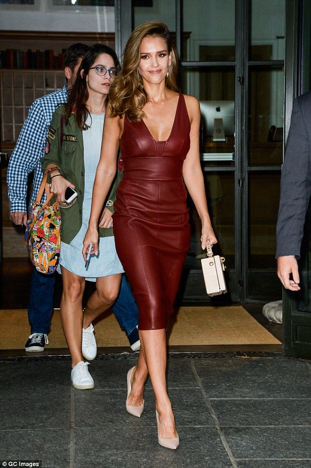 Red hot! Jessica Alba sizzled in a red leather dress when she left her New York City hotel on Thursday for a taping ofThe Tonight Show Starring Jimmy Fallon