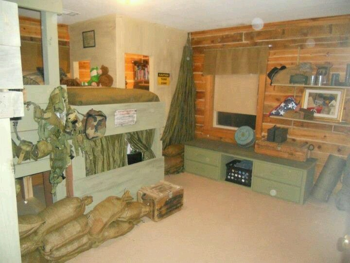 Sandbags  army parachute  helmets  hand grenade  dead  of course. 35 best Army Bedroom images on Pinterest