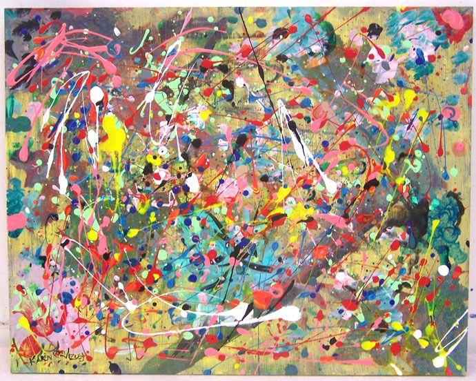 #28 MIJN MENING: Dit lijkt een plaatje voor iemand die in een feestige stemming is. Het is druk maar ook niet té druk. Het heeft wel smaak in een manier. Jackson Pollock