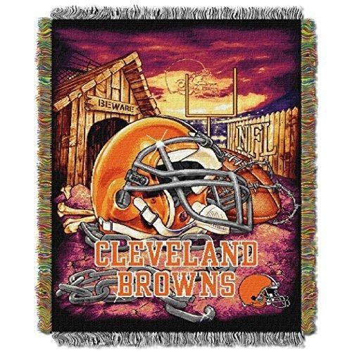 NFL Browns Throw Blanket 48 X 60 Football Themed Bedding Sports Patterned Team Logo Fan Merchandise Athletic Team Spirit Fan Dark Brown Orange White Polyester