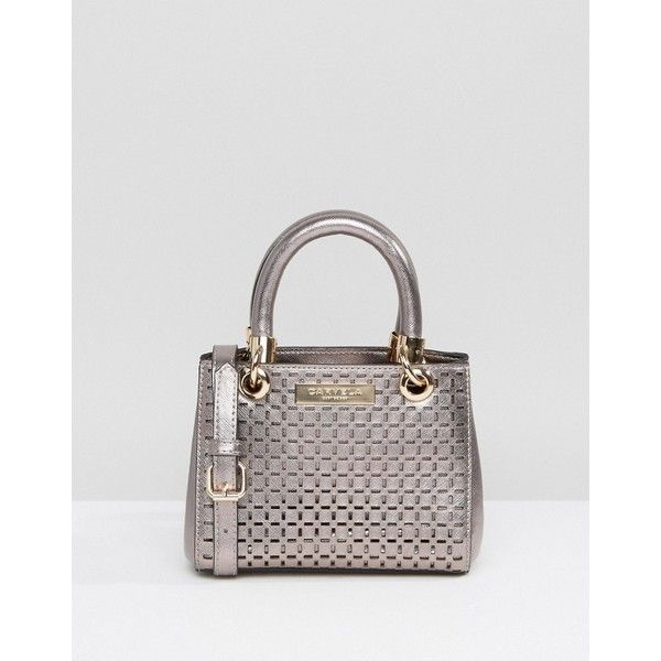 Carvela Cut Out Tote Bag With Detachable Strap (69 AUD) ❤ liked on Polyvore featuring bags, handbags, tote bags, grey, grey tote, gray tote bag, grey handbags, top handle purse and gray handbags