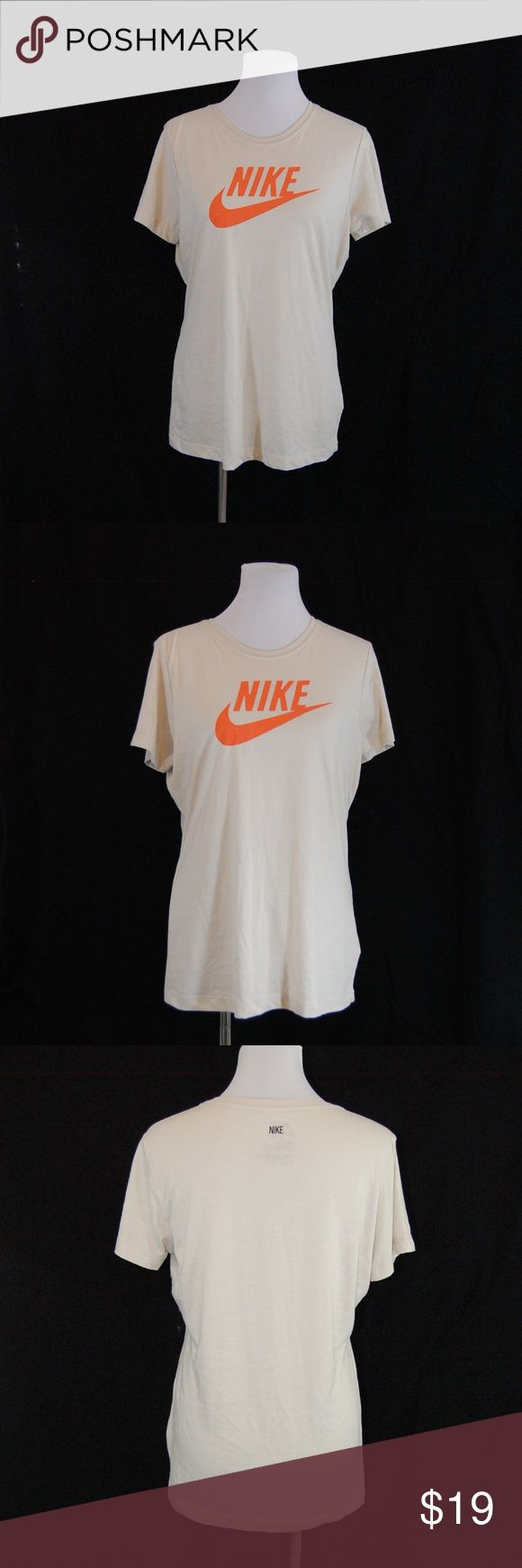 "NWT: Nike Slim Fit Logo Shirt (non-sale price $19)  Cream / beige colored crew neck tee with orange Nike & Swoosh logo on front. Small ""Nike"" at back of neck.  Slim fit.  Lightweight and very soft. A great tee for working out or with jeans and sneakers to run errands.  Brand new with tags. Nike Tops Tees - Short Sleeve"