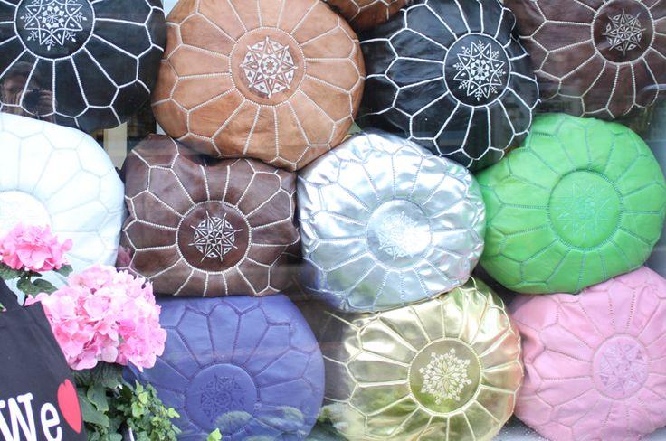 Marocco leather poufs
