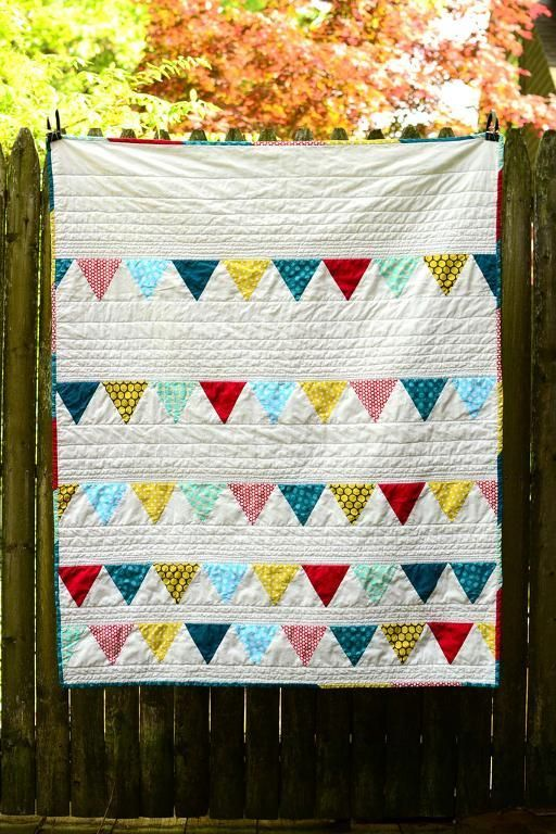 Free Quilt Pattern: Baby Bunting Quilt June 12, 2014 By I Sew Free  ready to download. This pattern is a fun and easy intro to sewing triangles. http://www.isewfree.com/free-quilt-pattern-baby-bunting-quilt/