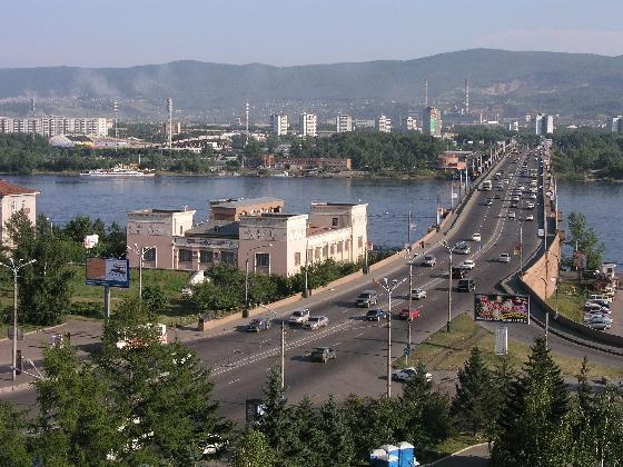 One of the main bridges in Krasnoyarsk.