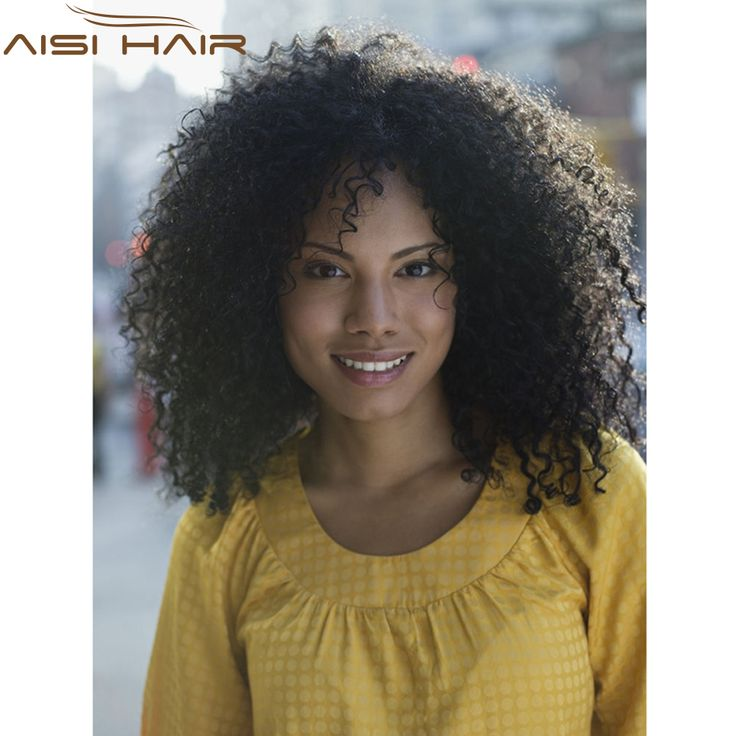 """Kinky Afro Wigs 18"""" Long Kinky Curly Black Hair Wig African American Wig For Black Women Cheap Synthetic Hair Realistic Wig"""