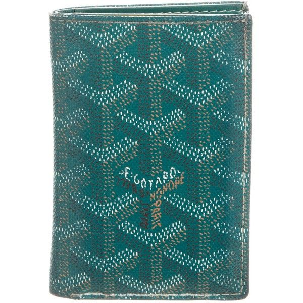 Pre-owned Goyard Goyardine Saint Pierre Card Holder ($495) ❤ liked on Polyvore featuring men's fashion, men's bags, men's wallets, green, mens card holder wallet, mens tri fold wallet, mens green leather wallet, mens wallet and goyard mens wallet