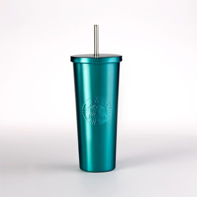 An insulated stainless steel Cold Cup in aqua blue, with embossed Siren logo and stainless steel straw.