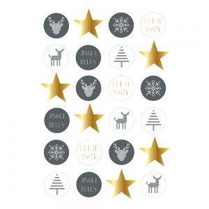 Zestaw naklejek świątecznych Cross, szaro-złote - Bloomingville