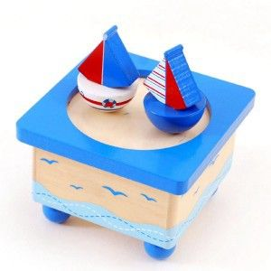 Nautical Music Box -his handpainted, wooden nautical sailboat design music box will delight any child. Wind up the music box and watch the boats spin around on the top to the music.#nauticaltoys #musicbox #toys #music #giftsforkids #1stbirthday #christening #namingday #xmas #xmasgifts #woodentoys