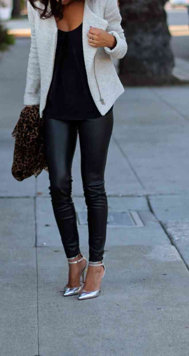 White Moto jacket + black tank + black scuba leggings + metallic pumps