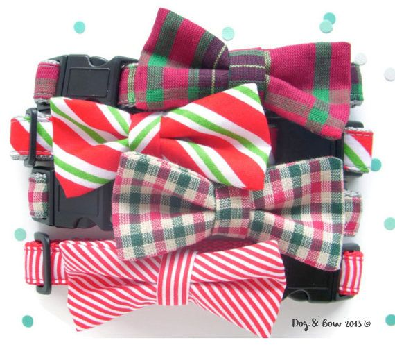 Christmas Dog Collar With Removable Bow Tie by DogAndBow on Etsy, $22.00
