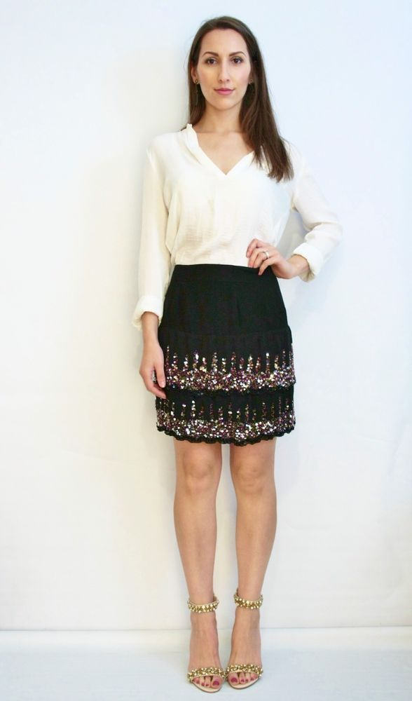 ALANNAH HILL Fly With Me Skirt Silk Sequin Embellished Layer Mini Formal Size 6  | eBay