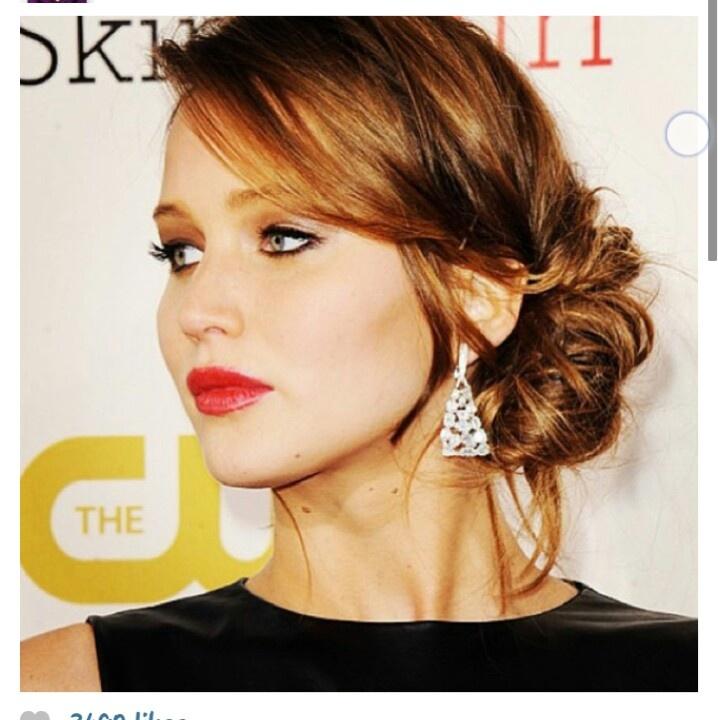 Hairstyles Jenifer Lawrence Curls Side Bun Cute Side