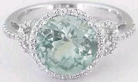 Delicate MicroPave Look Round Green Amethyst Ring (GR-2066)
