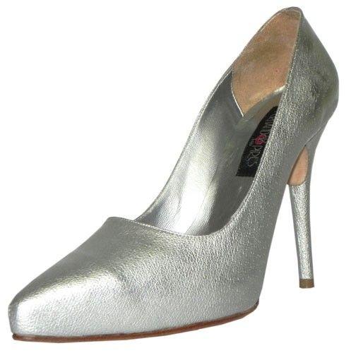 Sapato Scarpin Potenza de pelica martelada prata. Fernando Pires