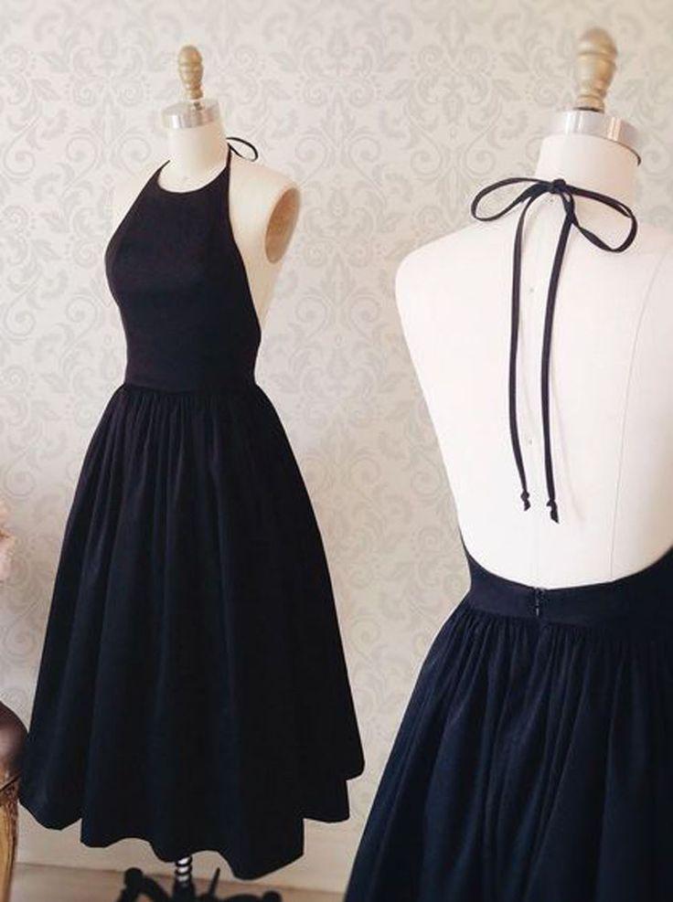 Buy Simple Halter Sleeveless Tea-Length Open Back Dark Navy Homecoming Dress Homecoming Dresses under US$ 108.99 only in SimpleDress.
