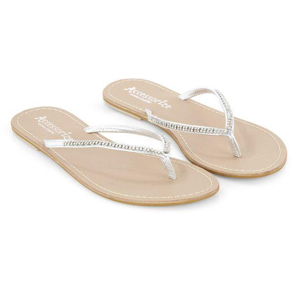 Monsoon Sparkle Diamante Flip Flop ($33) ❤ liked on Polyvore featuring shoes, sandals, flip flops, flats, sapatos, scarpe, sparkly flat sandals, flat heel shoes, sparkle flat shoes and diamante shoes
