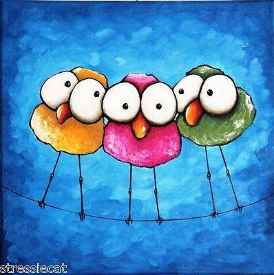 Original Fine Art Acrylic painting Lucia Stewart Whimsical bird three sisters