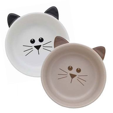 High-quality dinnerware ceramic cat bowls with cute minimalist design. Ears make a hand carrying tab! Measures 4.625 dia. and holds 1 cup.