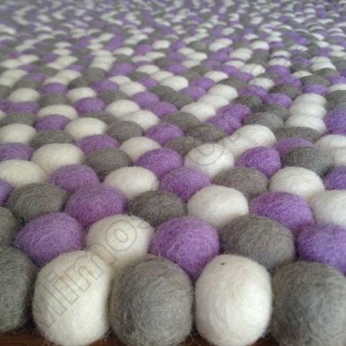 Purple Daisy Original Mimosa Design 100% Wool Felt Ball Rugs Kids Nursery Mat