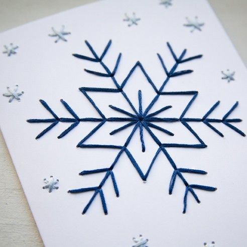 HOLIDAY Embroidery Card Kit- Snowflakes on White                                                                                                                                                                                 More