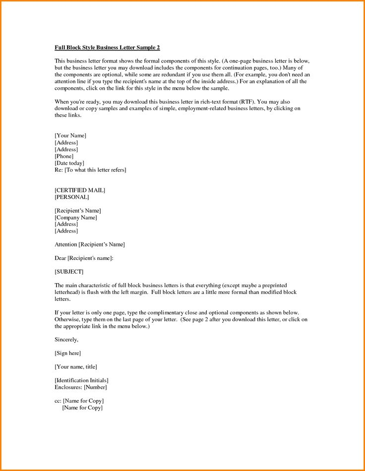 Formal Business Letter Format Example English Model How Write
