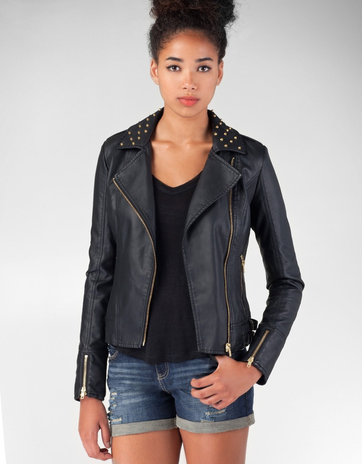Crossed jacket with studs on lapels