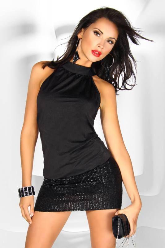 wetlook club kleid partykleid schwarz mit sexy dekollete