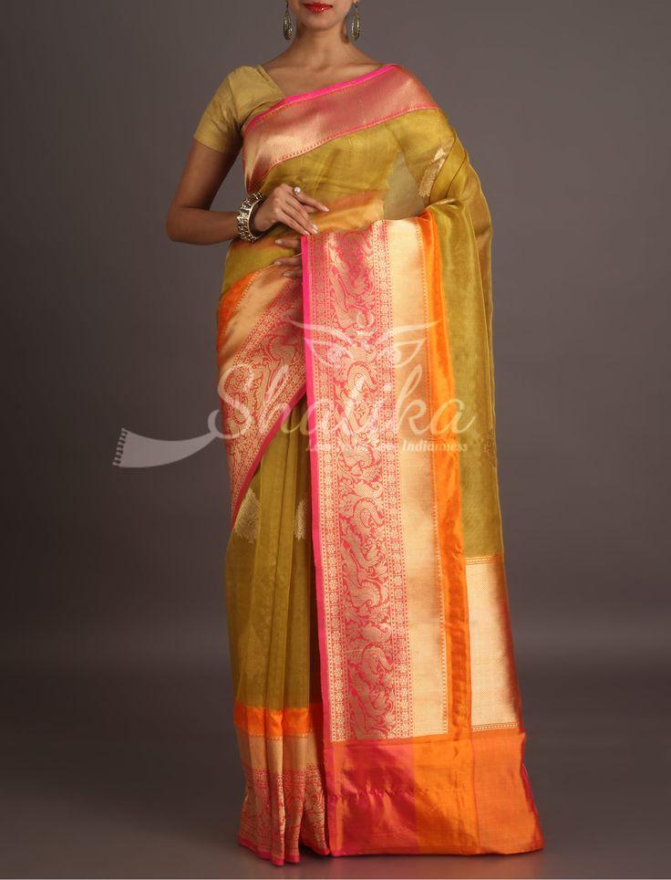Naina Ornate Broad Border Contrast Diaphanous Banarasi Organza Silk Saree