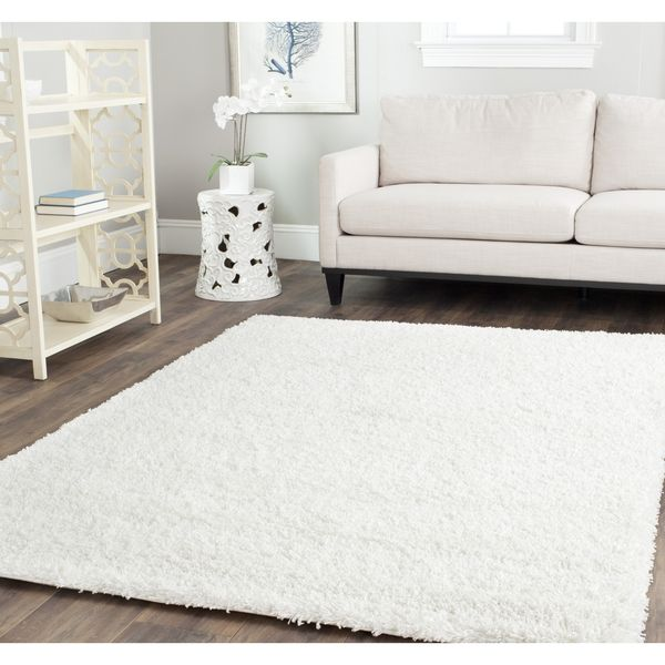 Safavieh Shag White Rug (4u0027 Square)   Overstock™ Shopping   Great Deals