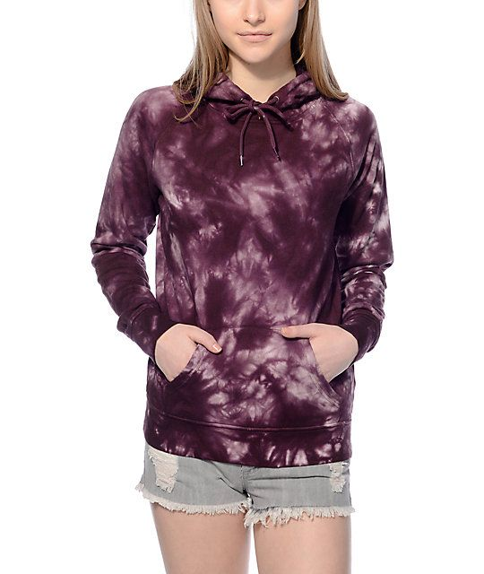 Add a little 70's into your life with this Tera fuchsia & white tie dye hoodie by Zine. The groovy tie dye print paired with the soft and cozy fleece liner is a hit with this throwback  design.