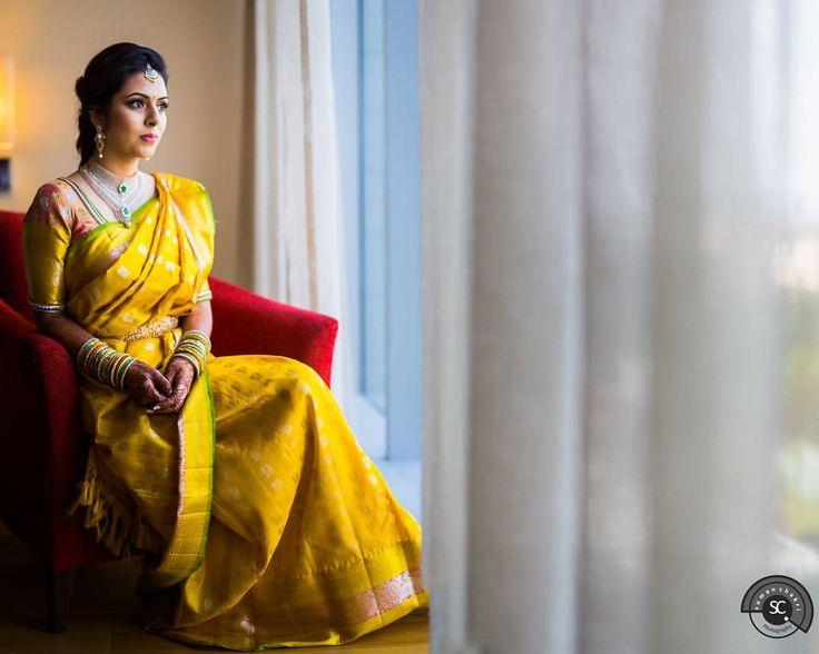 South Indian bride. Diamond Indian bridal jewelry.Temple jewelry. Jhumkis. Yellow silk kanchipuram sari.Braid with fresh jasmine flowers. Tamil bride. Telugu bride. Kannada bride. Hindu bride. Malayalee bride.Kerala bride.South Indian wedding.