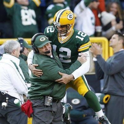 """You have my """"VOTE"""" Aaron Rodgers!  One of my favorite moments of the game and one of the best pics I've seen of #12! I saw it on Lombardiave.com (a page with LOTS of great stuff!) and can't stop smiling!"""