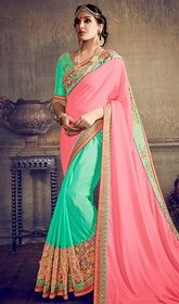 Pink and Green Color Silk Embroidered Half N Half Sari #saridresses #saridressdesigns Add a touch of elegance to your look with this pink and green color silk embroidered half n half sari. The incredible attire creates a dramatic canvas with unbelievable lace and resham work. Upon request we can make round front/back neck and short 6 inches sleeves regular saree blouse also. USD $ 124 (Around £ 86 & Euro 94)