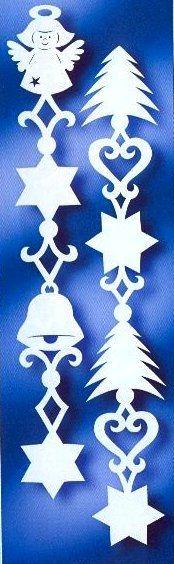Мини ГИРЛЯНДЫ с Ангелами и Елочками - УКРАШЕНИЯ-подвески из бумаги на окна, для комнаты, класса, зала к Рождеству, Новому году