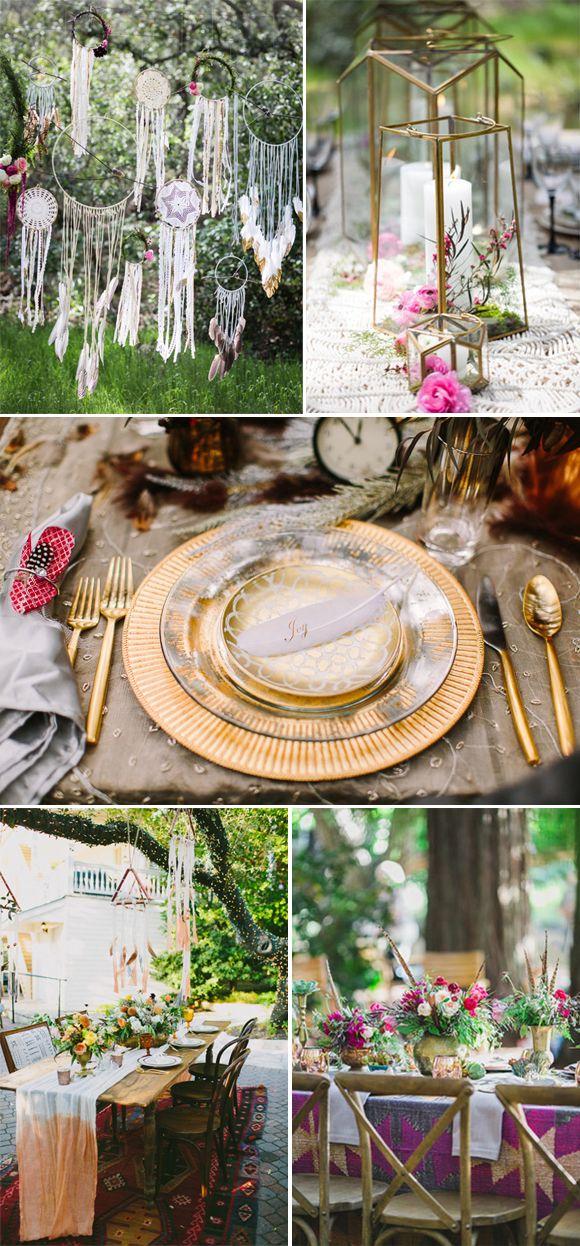 bodas bohemias. Ideas para decorar las mesas                                                                                                                                                                                 Más