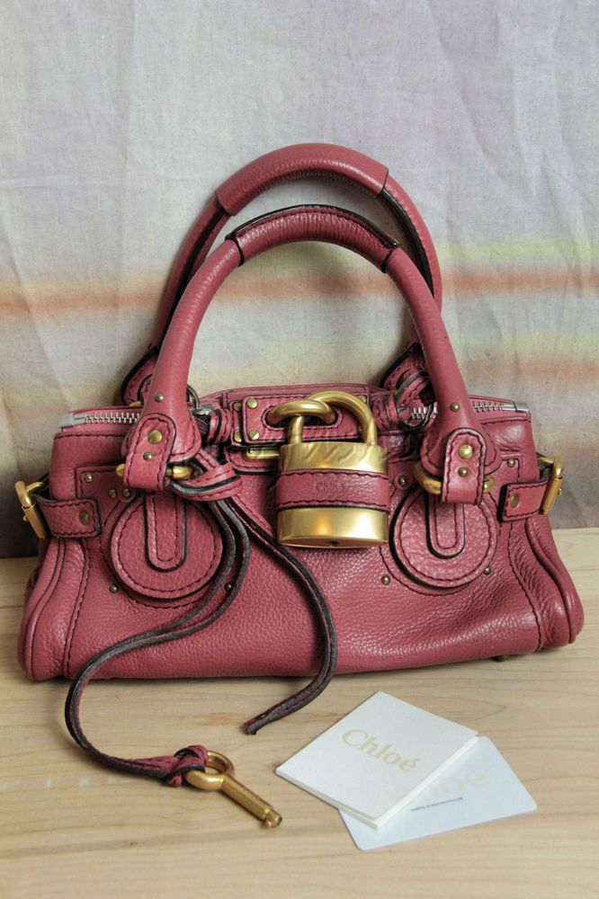 $1585 New CHLOE Paddington Dusty Rose Pink Pad Lock Key Biker ...