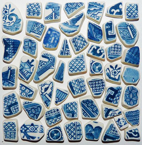 Blue & white pottery shards from the sea