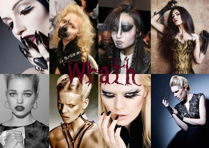 Wrath - Portray a hurt anger with dark lines crawling up the face and pointy, dark fingers and nails. Make the bottom liner look wet to create a teary effect.