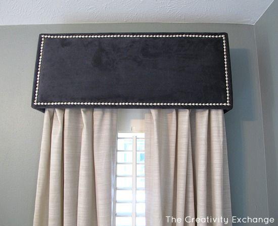 Navy Velvet Pelemt {Master Bedroom Revamp} The Creativity Exchange - upholstered pelmet tutorial -