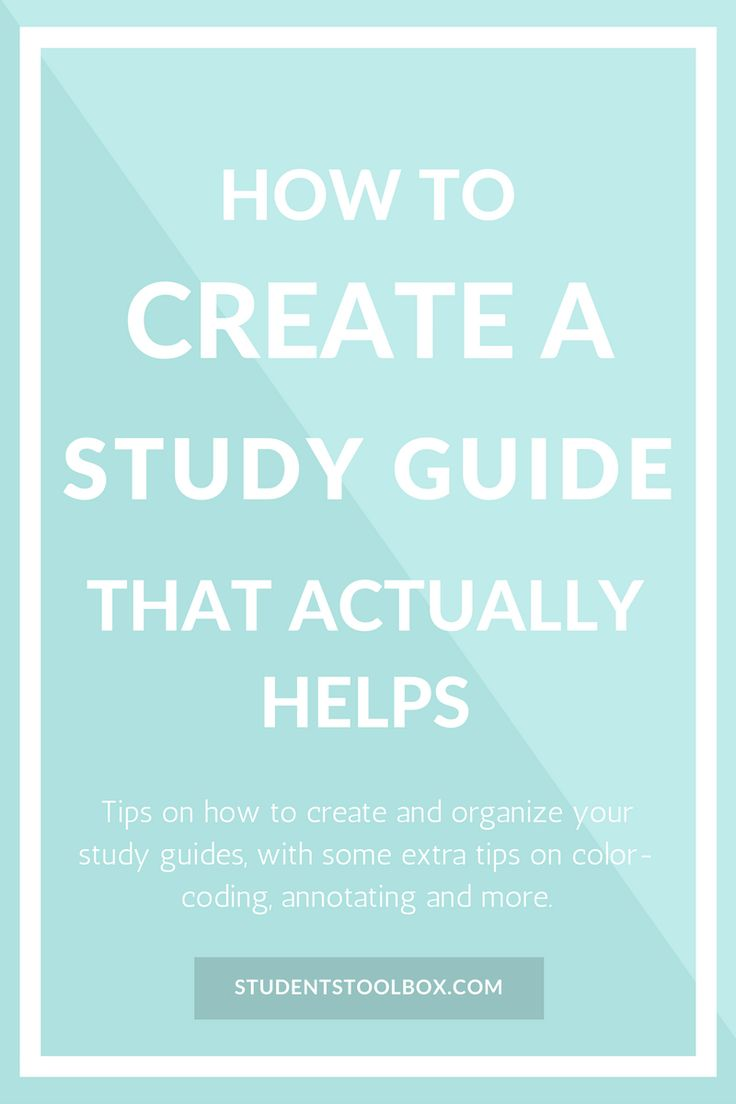 A study guide is usually a condensed version of all the information you need for an examination or test. Not only does it help you to study before the test, the process of making it itself allows you to familiarise yourself with the materials. I personally find making study guides to be an essential step when preparing for