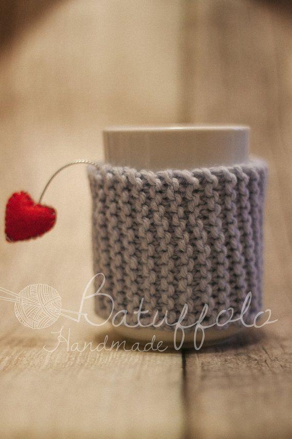 Copri tazza - mug fatto a maglia con cuore - speciale San Valentino
