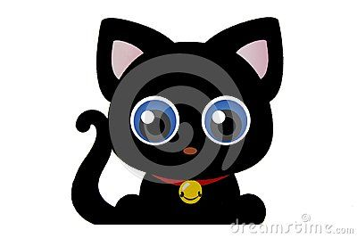 Cute black kitty cat silhouette with big blue eyes isolated on white. Curl tail,pink ears and collar and pendant.