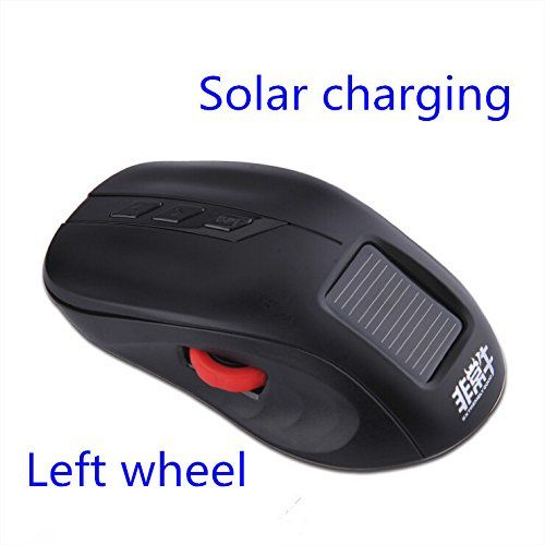 BestSelect 2014 New Solar Battery Charging 2.4GHz Optical Wireless Ergonomic Mouse High Speed High Quality Gaming Mouse Mause Mice F6 --- Color:Black