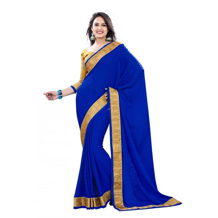 Blue Crepe and Jacquard Designer #Saree With Blouse- $48.36