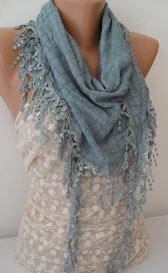 ON SALE Ice Blue Cotton Scarf Cowl Scarf by JasmineAccessory, $15.90